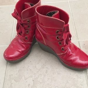 Fly London red patten boots